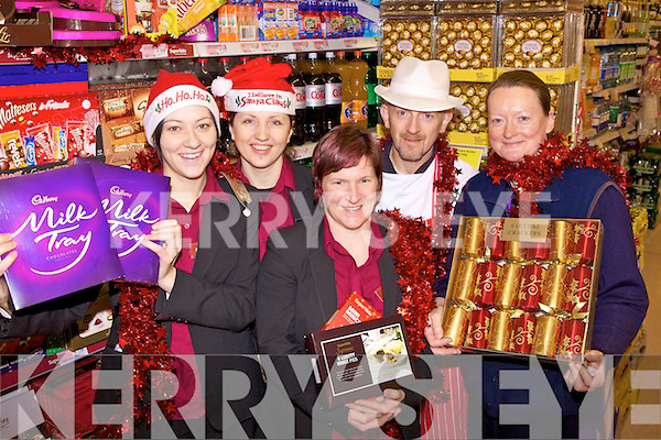 Staff members of Twohigs Supervalue, pictured in Abbeyfeale on Thursday morning, l-r: Michelle Brosnahan, Ramone Ziliene, Eileen Lyons, Mike Foley and Ann O'Connor.