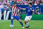 Gabi Fernandez of Atletico de Madrid competes for the ball with Shinji Okazaki of Leicester City Football Club  during the match of  Champions LEague between  Atletico de Madrid and LEicester City Football Club at Vicente Calderon  Stadium  in Madrid, Spain. April 12, 2017. (ALTERPHOTOS / Rodrigo Jimenez)