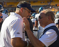 Pitt head coach Pat Narduzzi and Villanova head coach Andy Talley shake hands after the game.The Pitt Panthers defeated the Villanova Wildcats 28-7 at Heinz Field, Pittsburgh, Pennsylvania on September 3, 2016.
