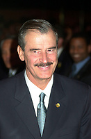 Montreal, April 20, 2001<br /> The President of the United Mexican States ; His Excellency Vincente Fox Quesada (left) sit at the head table before speaking at the `` Conference of Montreal `` on economy globalization,  April 20, 2001 in Montreal, CANADA.<br /> President Fox will attend the Quebec Summit of the Americas lopening today.<br /> Photo : Pierre Roussel / Liaison<br /> NOTE :  Incorrected D-1 JPEG