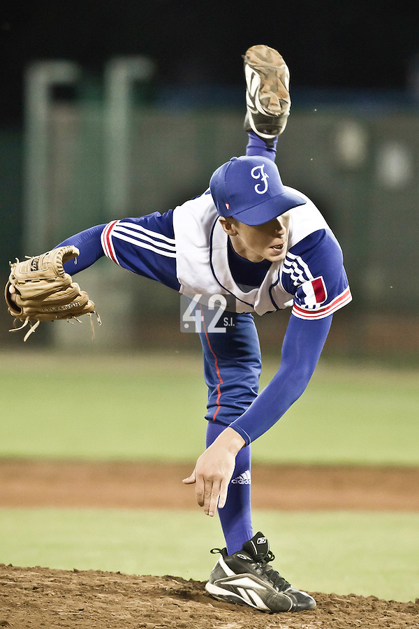 21 August 2010: Steven Vesque of Team France pitches against Russia during Russia 13-1 win in 7 innings over France, at the 2010 European Championship, under 21, in Brno, Czech Republic.