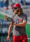 28 May 2016: Washington Nationals outfielder Jayson Werth warms up prior to facing the St. Louis Cardinals at Nationals Park in Washington, DC. The Cardinals defeated the Nationals 9-4 to take a 2-games to 1 lead in their 4-game series. Mandatory Credit: Ed Wolfstein Photo *** RAW (NEF) Image File Available ***