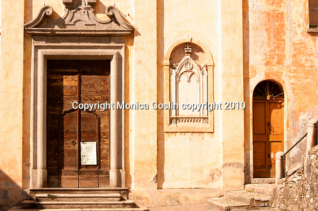 Doors of the church in Blevio, a small town on Lake Como, Italy