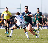 17th November 2019; The Sportsground, Galway, Connacht, Ireland; European Rugby Champions Cup, Connacht versus Montpellier; Tom Daly (Connacht) into contact with Anthony Bouthier (Montpellier) - Editorial Use