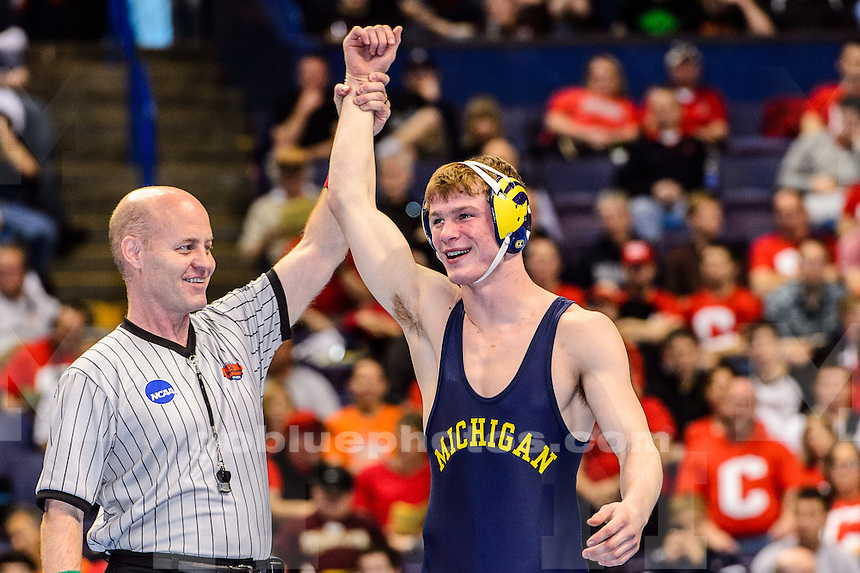 Michigan wrestlers compete at the 2015 NCAA championships at the Scottrade Center, St Louis, MO, March 21, 2015.