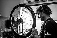after the stage, back at the Mitchelton-Scott team hotel, the mechanics already prep wheels &amp; bikes for the next stage<br /> <br /> Stage 2: Mouilleron-Saint-Germain &gt; La Roche-sur-Yon (183km)<br /> <br /> Le Grand D&eacute;part 2018<br /> 105th Tour de France 2018<br /> &copy;kramon