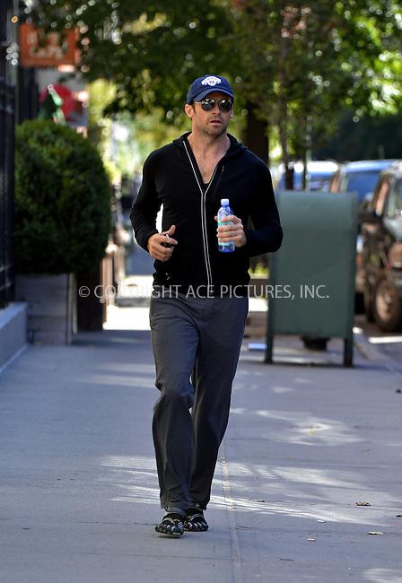 WWW.ACEPIXS.COM<br /> <br /> September 17 2013, New York City<br /> <br /> Actor Hugh Jackman jogs in the West Village on September 17 2013 in New York City<br /> <br /> By Line: Curtis Means/ACE Pictures<br /> <br /> <br /> ACE Pictures, Inc.<br /> tel: 646 769 0430<br /> Email: info@acepixs.com<br /> www.acepixs.com