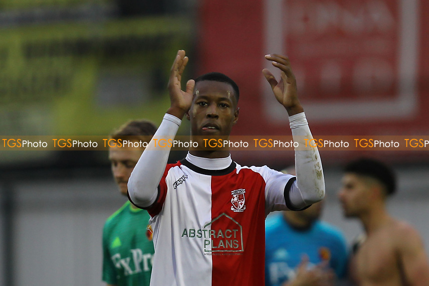Nathen Colier of Woking applauds the fans during Woking vs Watford, Emirates FA Cup Football at The Laithwaite Community Stadium on 6th January 2019
