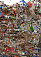 Bales of waste paper and plastic that has been imported from Europe are piled up outside a factory in Mai Village in Shunde district of Guangdong, China. Italian, Dutch and British waste was found in the area including waste from Sainsbury's, Persil, Marks and Spencer, Tesco and Bisto..15 Mar 2007
