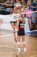 16 October 2010:  FIU outside hitter Una Trkulja (7) hits a kill shot in the third set as the Western Kentucky Hilltoppers defeated the FIU Golden Panthers, 3-2 (25-19, 23-25, 25-20, 25-27, 15-13), at the U.S Century Bank Arena in Miami, Florida.
