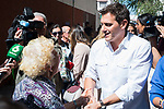President of Ciudadanos, Albert Rivera, and during the visit to neighbors affected by the squatting in Puente de Vallecas, Madrid. September 26, 2019. (ALTERPHOTOS/Francis González)