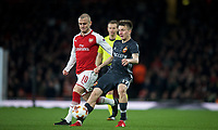 Jack Wilshere of Arsenal & Aleksandr Golovin of CSKA Moscow during the UEFA Europa League QF 1st leg match between Arsenal and CSKA Moscow  at the Emirates Stadium, London, England on 5 April 2018. Photo by Andrew Aleksiejczuk / PRiME Media Images.