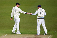 PICTURE BY VAUGHN RIDLEY/SWPIX.COM - Cricket - County Championship Div 2 - Yorkshire v Essex, Day 3 - Headingley, Leeds, England - 21/04/12 - Yorkshire's Steve Patterson passes Andrew Gale a note.