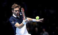 Nicolas Mahut in action with partner Pierre-Hughes Herbert against Jack Sock and Mike Bryan in their doubles Final match today<br /> <br /> Photographer Hannah Fountain/CameraSport<br /> <br /> International Tennis - Nitto ATP World Tour Finals Day 8 - O2 Arena - London - Sunday 18th November 2018<br /> <br /> World Copyright &copy; 2018 CameraSport. All rights reserved. 43 Linden Ave. Countesthorpe. Leicester. England. LE8 5PG - Tel: +44 (0) 116 277 4147 - admin@camerasport.com - www.camerasport.com