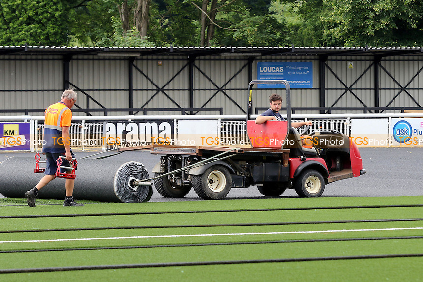 The new pitch being laid prior to the start of the  season during a visit to the Gallagher Stadium on 5th July 2016