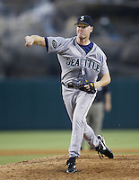 Jeff Nelson of the Seattle Mariners pitches during a 2002 MLB season game against the Los Angeles Angels at Angel Stadium, in Los Angeles, California. (Larry Goren/Four Seam Images)