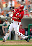17 June 2006: Brian Schneider (left), catcher for the Washington Nationals, in action against the New York Yankees at RFK Stadium, in Washington, DC. The Nationals overcame a seven run deficit to win 11-9 in the second game of the interleague series...Mandatory Photo Credit: Ed Wolfstein Photo...