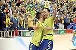 Inter FS's Mario Rivillos and Cardinal celebrate goal during UEFA Futsal Cup 2015/2016 Semifinal match. April 22,2016. (ALTERPHOTOS/Acero)