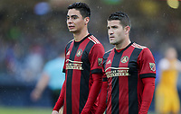 Nashville, TENN. - Saturday February 10, 2018: Miguel Almirón, Greg Garza during a preseason exhibition match between Nashville SC vs Atlanta United FC at First Tennessee Park.