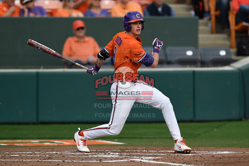 Shortstop Logan Davidson (8) of the Clemson Tigers bats in a game against the William and Mary Tribe on February 16, 2018, at Doug Kingsmore Stadium in Clemson, South Carolina. Clemson won, 5-4 in 10 innings. (Tom Priddy/Four Seam Images)
