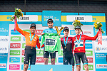 Greg Van Avermaet (BEL) CCC Team wins Stage 4 while Christopher Lawless (GBR) Team Ineos 2nd place the overall general and points  classifications, 3rd Edward Dunbar (IRL) Team Ineos and Mountains Jersey Lucas Eriksson (Riwal Readynez Cycling Team) at the end of the 2019 Tour de Yorkshire, running 175km from Halifax to Leeds, Yorkshire, England. 5th May 2019.<br /> Picture: ASO/SWPix | Cyclefile<br /> <br /> All photos usage must carry mandatory copyright credit (© Cyclefile | ASO/SWPix)