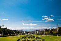 Parque Eduardo VII (Eduardo VII Park), Lisbon, Portugal. This park, initially named Liberty Park and renamed after King Edward VII of England, stretches for 26 hectares right in the middle of Lisbon, ending at the Marques de Pombal Square (the statue visible in the center).