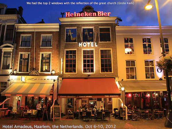 The Amadeus Hotel at night, town square, Haarlem, Netherlands .  John offers private photo tours in Denver, Boulder and throughout Colorado, USA.  Year-round. .  John offers private photo tours in Denver, Boulder and throughout Colorado. Year-round.