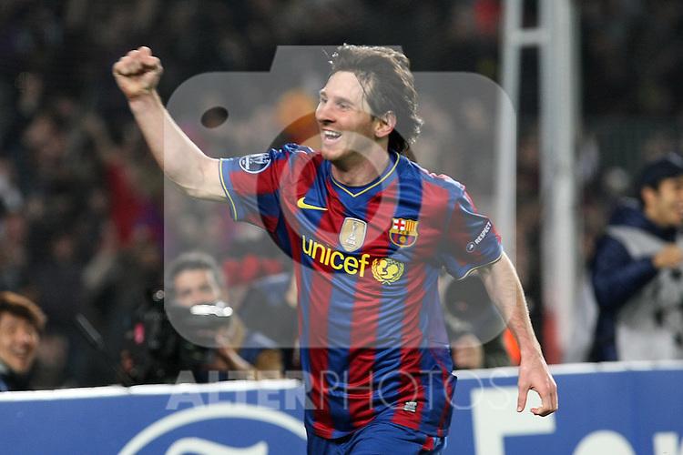 FC Barcelona's Lionel Messi celebrates goal during UEFA Champions League match. April 6, 2010. (ALTERPHOTOS/Acero)