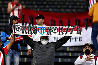 QUITO-ECUADOR, 11-03-2020: Hinchas de Atletico Junior, durante partido de la fase de grupos, grupo A, fecha 2, entre Independiente del Valle (ECU) y Atletico Junior (COL) por la Copa Conmebol Libertadores 2020, en el estadio Olimpico Atahualpa, de la ciudad Quito. / Fans of Atletico Junior, duringthe match of the groups phase, group A, 2nd date, between Independiente del Valle (ECU) and Atletico Junior (COL) for the Conmebol Libertadores Cup 2020, at the Olimpico Atahualpa in Quito city. / Photo: VizzorImage / Steve Silva / PressSouth / Cont.