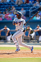 Jacksonville Jumbo Shrimp center fielder Monte Harrison (3) hits a double during a game against the Biloxi Shuckers on May 6, 2018 at MGM Park in Biloxi, Mississippi.  Biloxi defeated Jacksonville 6-5.  (Mike Janes/Four Seam Images)