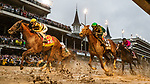 LOUISVILLE, KENTUCKY - MAY 04: Country House (left) with Flavien Prat crosses the wire second in the Kentucky Derby but was promoted  via disqualification as Maximum Security with Luis Saez caused interference on the turn at Churchill Downs in Louisville, Kentucky on May 04, 2019. Evers/Eclipse Sportswire/CSM