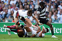 Marcus Smith of the England XV looks to reach the try-line. Quilter Cup International match between England XV and the Barbarians on June 2, 2019 at Twickenham Stadium in London, England. Photo by: Patrick Khachfe / Onside Images