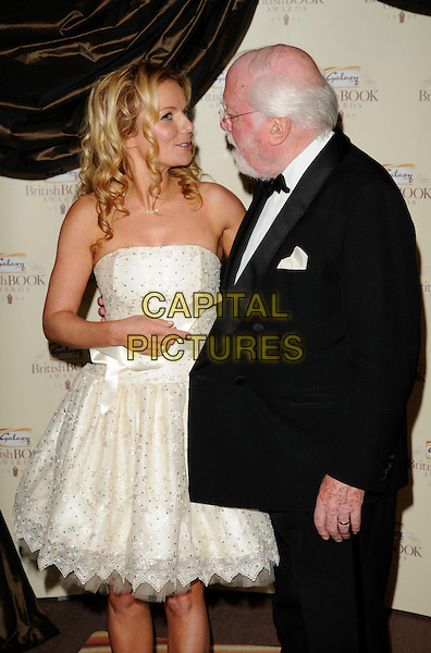 GERI HALLIWELL  & RICHARD ATTENBOROUGH.Attending the Galaxy British Book Awards held at the Grosvenor Hotel, Park Lane, London, England,.April 9th 2008..half length white strapless prom dress silver shoes black suit looking at each other funny .CAP/CAN.©Can Nguyen/Capital Pictures