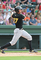 Infielder Chris Lashmet (27) of the West Virginia Power, a Pittsburgh Pirates affiliate, in a game against the Greenville Drive on May 19, 2012, at Fluor Field at the West End in Greenville, South Carolina. Greenville won 7-3. (Tom Priddy/Four Seam Images)