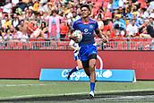 2nd February 2019, Spotless Stadium, Sydney, Australia; HSBC Sydney Rugby Sevens; Samoa versus Japan; John Vaili of Samoa runs in for a try