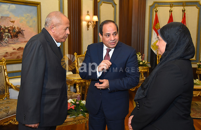 """Egyptian President Abdel Fattah al-Sisi attends a symposium titled """"Counter Terrorism"""" and """"National Will"""" and organized by Egyptian Armed Forces in Cairo, Egypt on February 9, 2017. Photo by Egyptian President Office"""