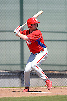 Philadelphia Phillies infielder Tim Carver (18) during a minor league Spring Training game against the New York Yankees at Carpenter Complex on March 21, 2013 in Clearwater, Florida.  (Mike Janes/Four Seam Images)