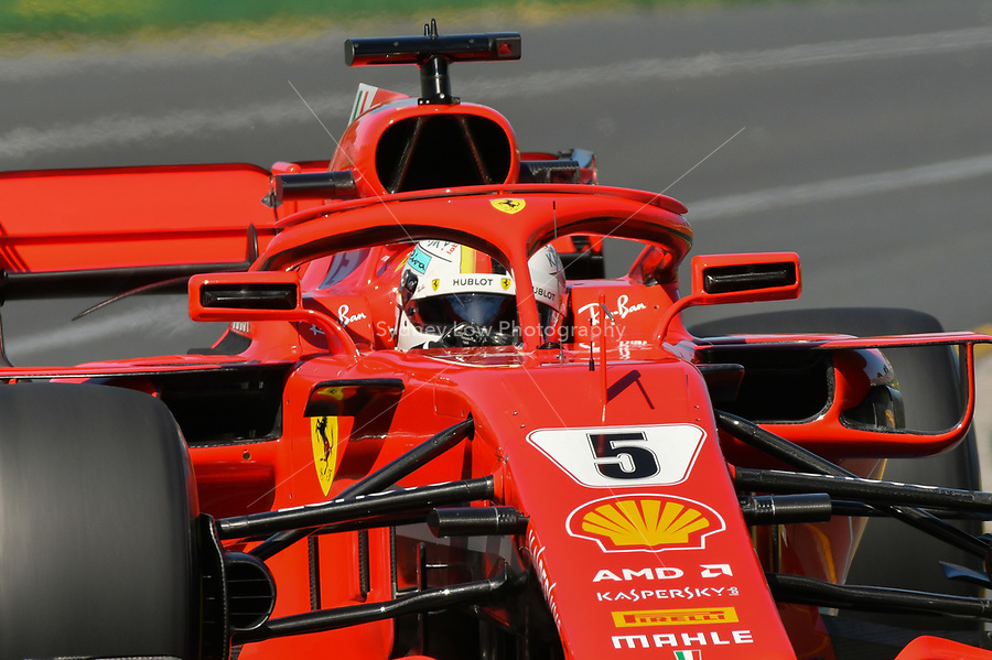 March 23, 2018: Sebastian Vettel (DEU) #5 from the Scuderia Ferrari team during practice session one at the 2018 Australian Formula One Grand Prix at Albert Park, Melbourne, Australia. Photo Sydney Low