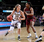 SIOUX FALLS, SD: MARCH 7: Morgan Blumer #12 from Western Illinois looks to drive past Danielle Lawrence #14 from IUPUI during the Women's Summit League Basketball Championship Game on March 7, 2017 at the Denny Sanford Premier Center in Sioux Falls, SD. (Photo by Dave Eggen/Inertia)