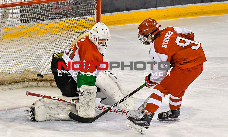 03.01.2020, BLZ Arena, Füssen / Fuessen, GER, IIHF Ice Hockey U18 Women's World Championship DIV I Group A, <br /> Daenemark (DEN) vs Ungarn (HUN), <br /> im Bild Zsofia Toth (HUN, #20), Sarah Stauning (DEN, #9)<br /> <br /> Foto © nordphoto / Hafner