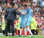 Josep Guardiola manager of Manchester City talks to his players during the Premier League match at Old Trafford Stadium, Manchester. Picture date: September 10th, 2016. Pic Simon Bellis/Sportimage