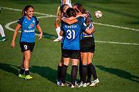 Kansas City, MO - Sunday September 3, 2017: Lo'eau Labonta, Christina Gibbons, Shea Groom, celebrate, celebration during a regular season National Women's Soccer League (NWSL) match between FC Kansas City and Sky Blue FC at Children's Mercy Victory Field.