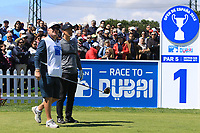 Thorbjorn Olesen (DEN) on the 1st tee  during Round 3 of the Open de Espana 2018 at Centro Nacional de Golf on Saturday 14th April 2018.<br /> Picture:  Thos Caffrey / www.golffile.ie<br /> <br /> All photo usage must carry mandatory copyright credit (&copy; Golffile | Thos Caffrey)