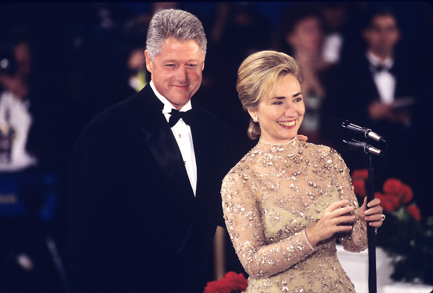 First Lady Hillary Clinton and President Bill Clinton attend an Inaugural Ball after he was sworn in to a second term at President.