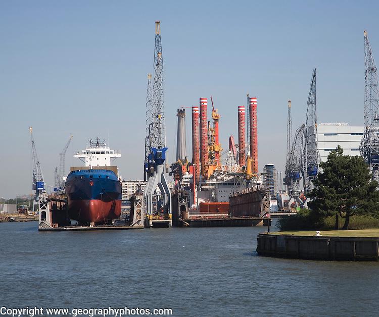 Dry dock shipyard Port of Rotterdam, Netherlands