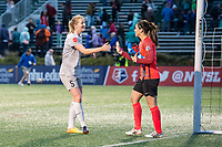 Boston, MA - Sunday May 07, 2017: Samantha Mewis and Sabrina D'Angelo during a regular season National Women's Soccer League (NWSL) match between the Boston Breakers and the North Carolina Courage at Jordan Field.