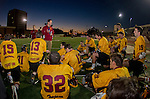Los Angeles, CA 02/01/14 - USC Coach Chris Boland addresses the Trojans at half time in their contest against UC Santa Barbara.