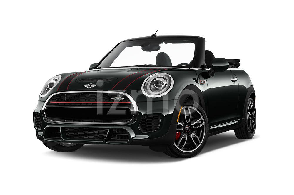 Stock pictures of low aggressive front three quarter view of 2019 MINI Cooper John-Cooper-Works-Convertible Door Convertible Low Aggressive
