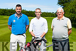 Tim Jones, John Doyle and Barry Duggan at the Kerry Stars golf classic on Saturday in Beaufort Golf Course