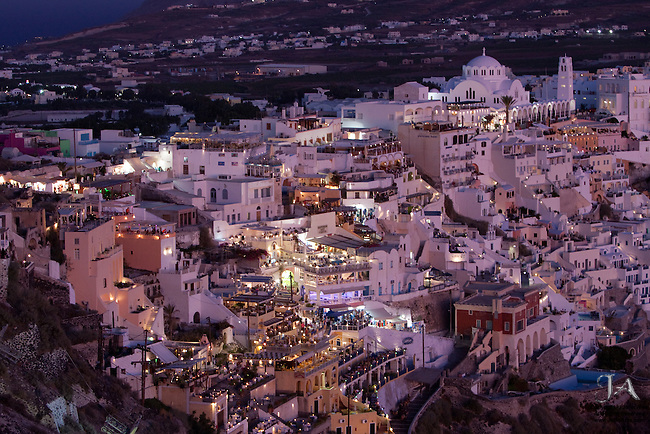 Fira, Santorini, Greece at dusk